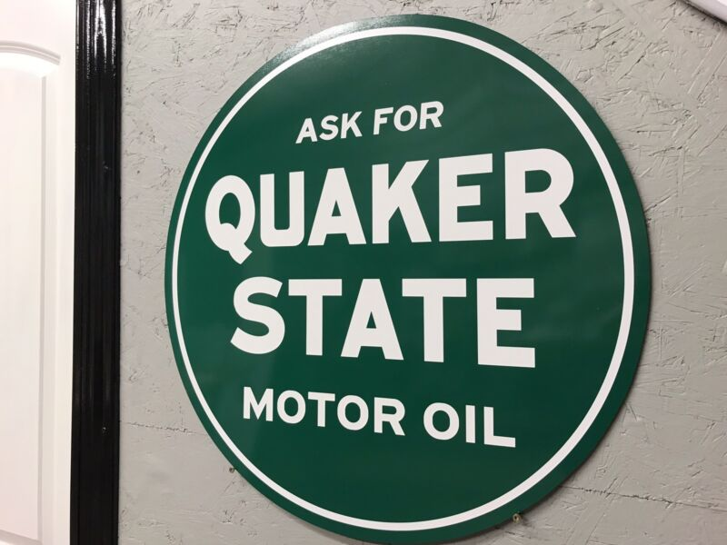 Antique Vintage Old Style Quaker State Oil Sign