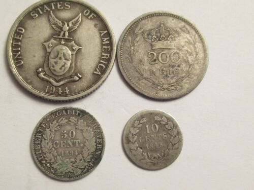 Lot of 4 foreign silver Coins,  mixed dates, denominations, countries