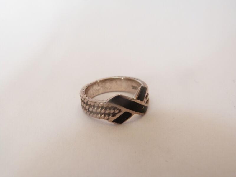 STERLING Silver Estate Sale ART DECO Style Ring Black Enamel Size 6.5