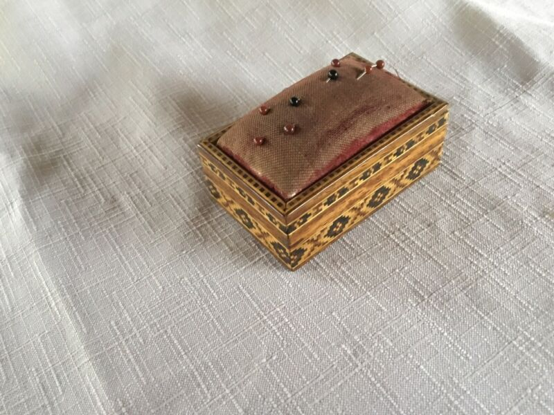Tunbridge Inlaid Stick Mosaic Slide Box Pincushion
