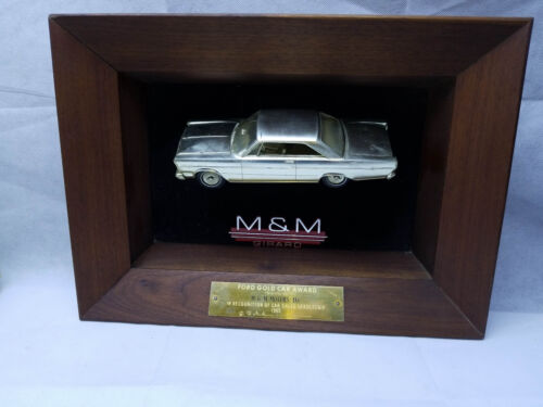 Vintage 1965 FORD galaxy Dealership gold car Award Trophy Brass M&M Girard