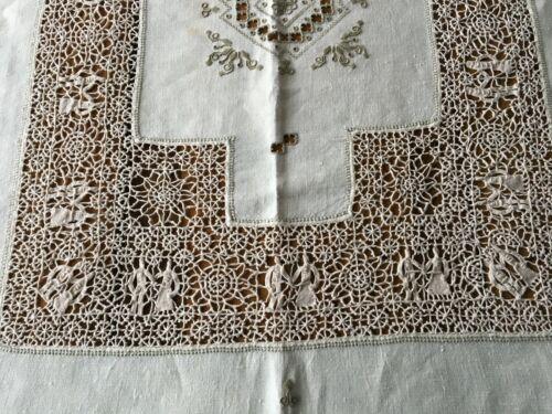 Vintage Italian Point de Venice Figural Needle Lace Tablecloth 10 Napkins 112X68