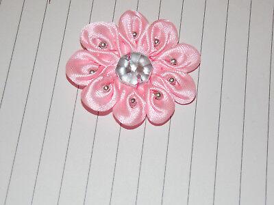 pink satin jewel flower 4.5cm children glue on Sew on Applique Motif Patch trim - Jewel Trim Satin