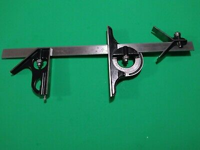 Starrett Combo Square Set Headprotractor490center Finder 18rule Scribe