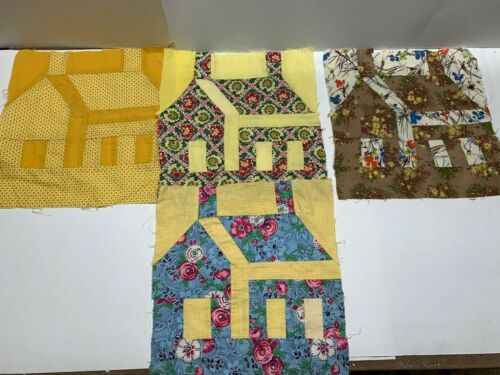 """4 Vintage Cotton Quilt Block School House Cabin 11 1/2  x 12"""""""