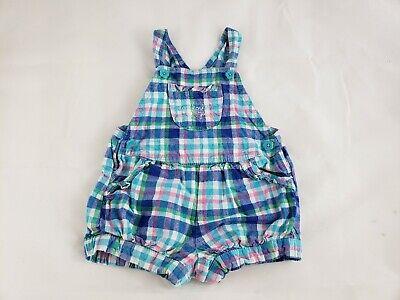 Baby Girls Oshkosh Bgosh White Blue Green Pink Plaid Shortalls Romper 12 Months