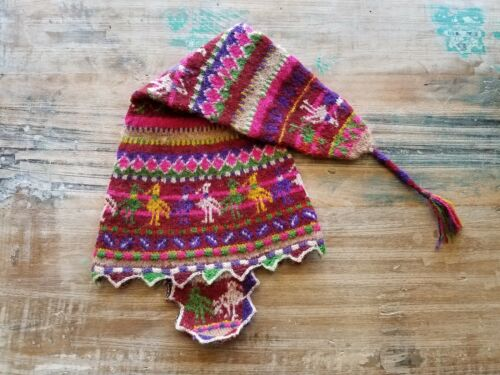 Vintage South American Vibrant Multicolor Pointed Knit Wool Baby Childs Kids Hat