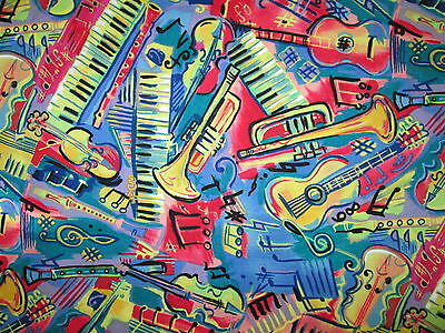 MOD MUSIC INSTRUMENTS NOTES GUITAR KEYBOARD VIOLIN COTTON FABRIC FQ for sale  Shipping to India