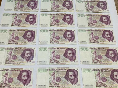 Collection of 15 Italian pre Euro Italy 50,000 LIRE Bank Notes 1992 all AU / UNC