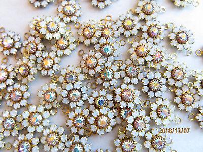 - J285 - 24 Swarovski 2 Ring Flower Components 10mm - White Opal & Crystal AB