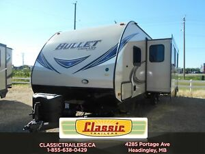 2018 BULLET 287QBS This quad bunk with an outdoor kitchen and a