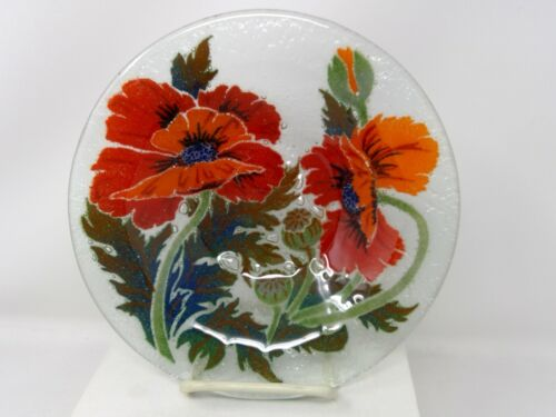 """Peggy Karr Fused Glass Poppies 8 1/2"""" Bowl"""