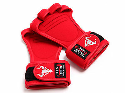 WORKOUT GLOVES RED GYM  Wristwrap Weight Lifting Fitness Training Grip Strap Pad