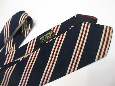 1940s Mens Ties | Wide Ties & Painted Ties RARE VTG 1940s BROOKS BROTHERS REPP STRIPE TIE SILK not WEIGHTED over 25% LABEL $77.00 AT vintagedancer.com