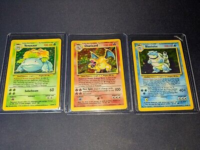 Charizard Venusaur Blastoise base set wotc 1999 rare set lot of 3 psa ready