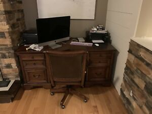 All wood office furniture - desk, chair, wall units - 2000$