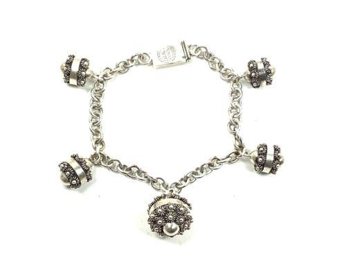 """925 Sterling Silver Cannetille Floral Drops Charm Link Bracelet, 7.5"""" Long 23.3g"""