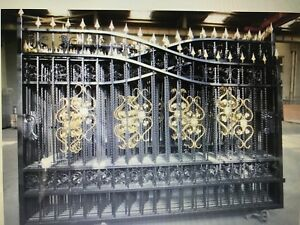 1set of 20FT Wrought Iron Bi Parting Driveway Gates (New)