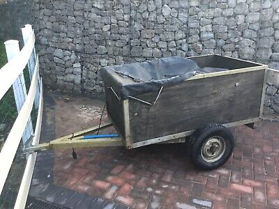 Small used car trailer,  Wooden, 5ft x 3ft approx. Unbraked