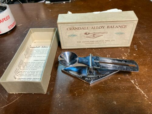 Vintage Antique Dentistry Scale Crandall Alloy Balance Original Box UNUSED?
