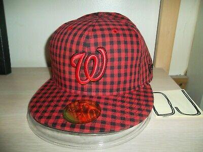 WASHINGTON NATIONALS BASEBALL CAP/HAT-NEW ERA 59FIFTY RED-BLACK PLAID/NEW!!! ()