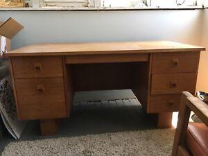 Vintage large teak desk