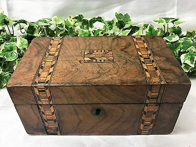 Lovely Antique Victorian Tunbridge Ware Walnut Tea Caddy With Inlaid Decoration