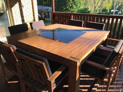 Timber 9-piece Outdoor Setting with Granite inlay