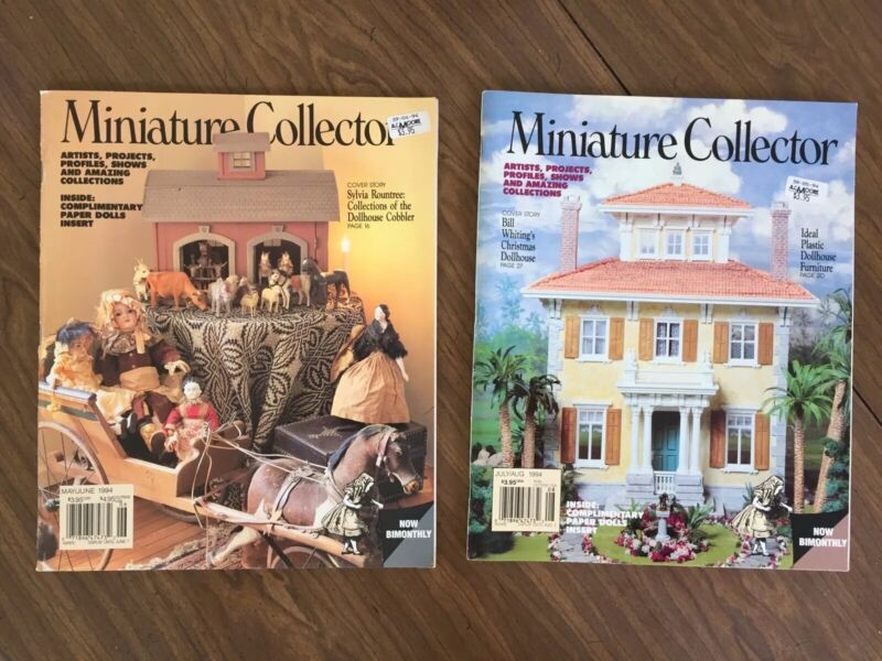 2 VTG Dollhouse MINIATURE COLLECTOR Magazines, May-Aug 1994, Center Pull-Outs