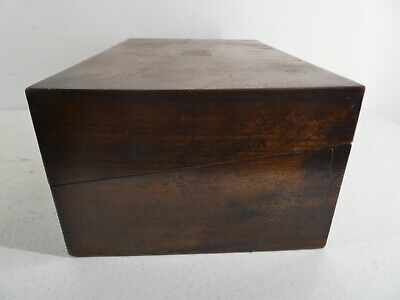 Antique Brown Wooden Writers Writing Slope Velvet With Ink Glass No Key (E24)
