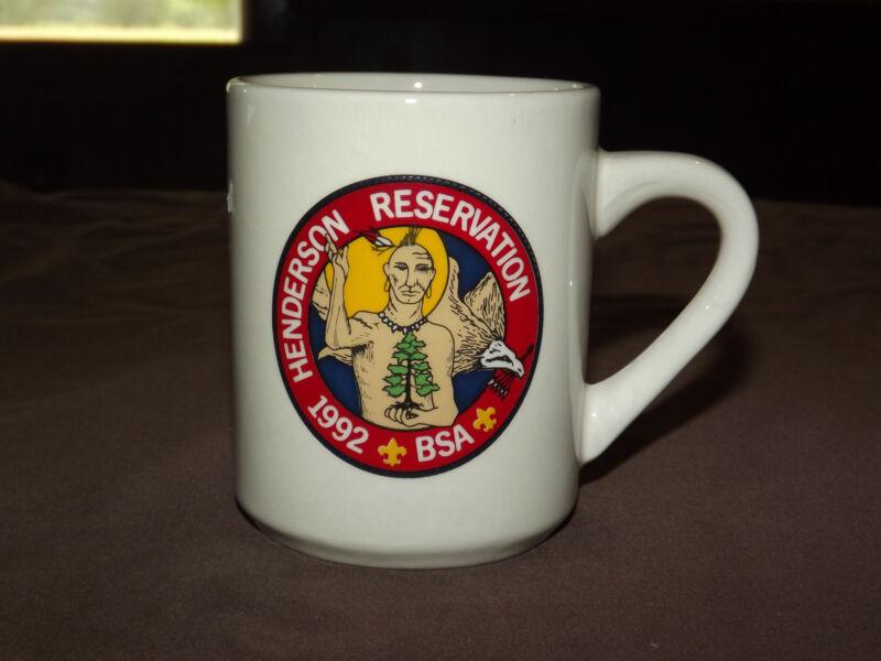VINTAGE BSA BOY SCOUTS  COFFEE MUG 1992 HENDERSON RESERVATION