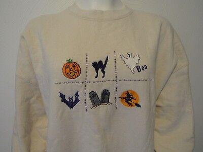 MAZE WOMAN'S XL HALLOWEEN SWEATSHIRT STRETCH COTTON CREAM NWOT - Maze Halloween