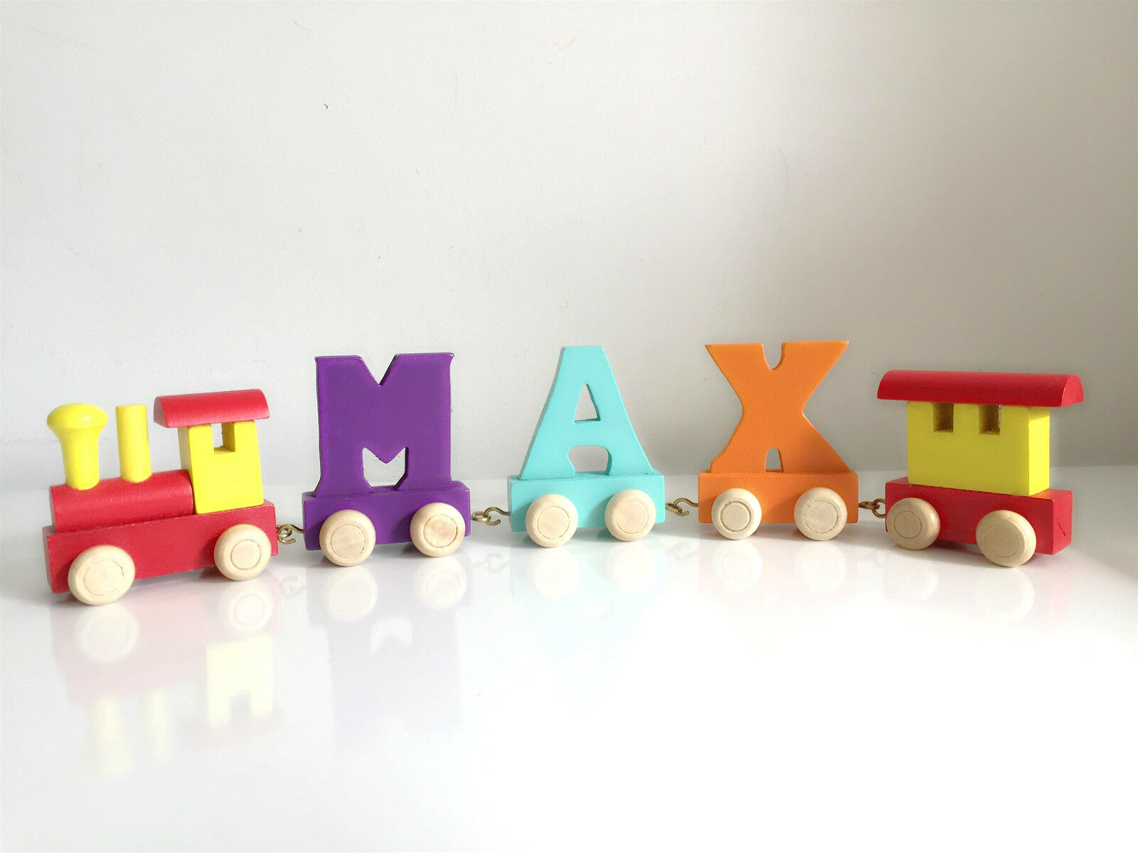 Brand New Wooden Alphabet Color Train Letters Personalised Name as Children Gift