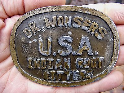 Vtg RX BOTTLE Belt Buckle DR WONSER Doctor ROOT Bitters Snake OIL Elixir RARE VG