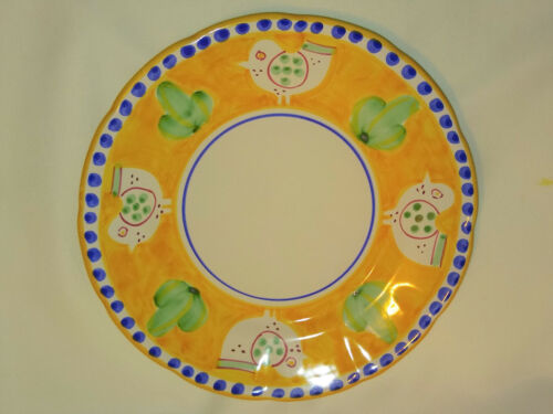 "3 SOLIMENE VIETRI CHICKEN YELLOW DINNER PLATES - MADE IN ITALY 10"" DIAMETER"
