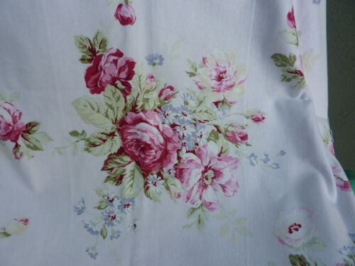 Yuwa American Barkcloth  Fabric Large Raspberry Cabbage Roses on Pale Pink BTY