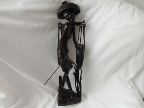 """Vintage 20""""  Ornate Hand Carved Wood Asian Skinny Peasant Figurine Statue"""