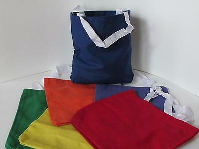 24 Colored CANVAS TOTE BAGS primary colors bulk supplies FREE SHIP tote bag