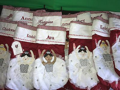 Pottery Barn Kids New Quilted Ballerina Christmas Stocking Choose Name