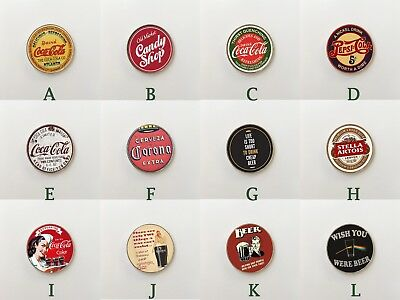 Retro Classic Beverages Drinks Booze Bar Club Stainless Steel Fridge Magnets