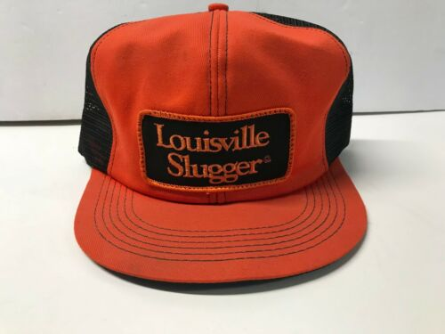 Vintage Louisville Slugger Orange & Black Snapback Mesh Trucker Hat K-Brand