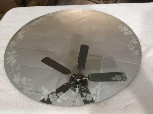 """Vintage 17 1/2"""" Round Diameter Mirror With Flower Design Around the Edge"""