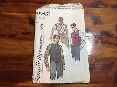 1940s Men's Shirts, Sweaters, Vests Vintage Simplicity Pattern Men's Shirt and Vest, Size 38, 1940s or 50s Uncut! $8.99 AT vintagedancer.com
