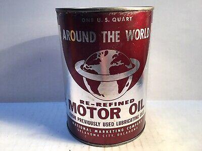 Vintage Around World Oil Can Quart gas rare sign handy Shell tin Beacon Texaco 4