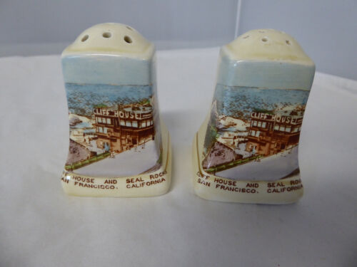 Vintage SF Cliff House Staffordshire Royal Winton Salt and Pepper Shakers