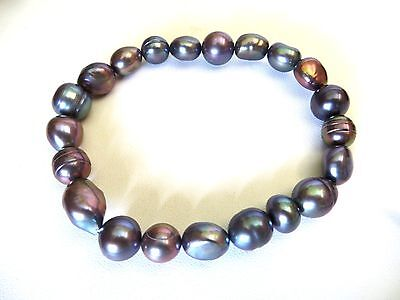 Honora Cultured Large 9-11MM Gray Color Hues Pearls Stretch Bracelet 8 Inches