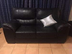 2x black Italian leather lounge sofa Harvey Norman Golden Grove Tea Tree Gully Area Preview