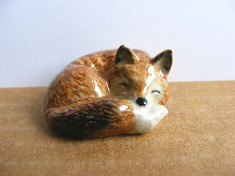 Klima Sleeping Fox Miniature Animal Figurine Support Wildlife Rehab