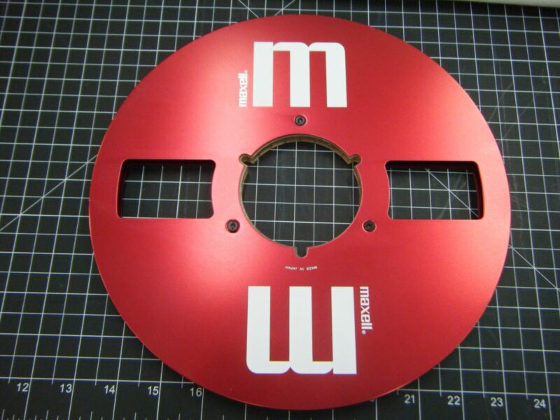 """Maxell Red Reel 10.5"""" Aluminum Metal Take-Up for 1/4"""" TapeReel to Reel Recorder"""