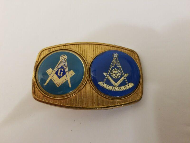 Vintage 1981 Harry Klitzner Co. Masonic Belt Buckle 1 1/2 x 2 1/2 inches